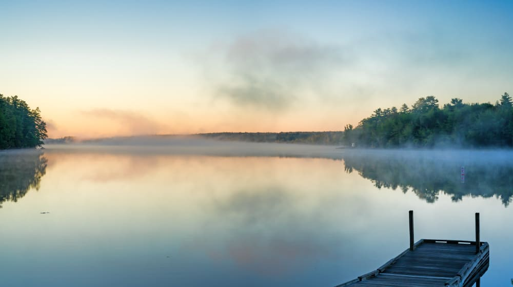 Lake with mist and wharf